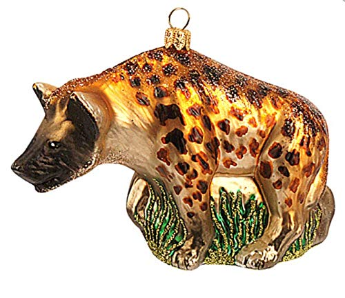 Hyena African Polish Glass Christmas Ornament Africa Mammal Zoo Animal