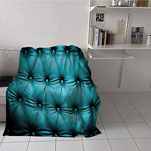 Khaki home Children's Blanket Couch Lightweight All-Season Blanket (50 by 60 Inch,Turquoise Decor Collection,Buttoned Couch Sofa Bed Headboard Leather Cover Luxurious Upholstery Art,Dark Teal
