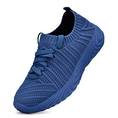 QANSI Boys Girls Kids Fashion Sneakers Ultra Lightweight Slip On Walking Shoes Blue Size 3.5 Little Kid