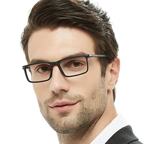 - OCCI CHIARI Rectangular Stylish Eyeware Frames Prescription Eyeglasses with Acrylic Lenses Gifts for Men (Black,52)
