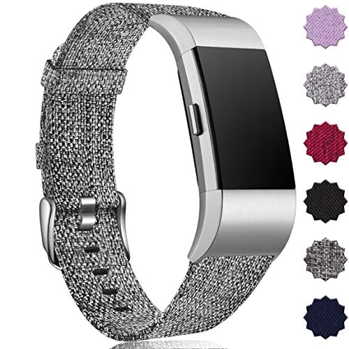 Maledan Compatible with Fitbit Charge 2 Bands for Women Men, Large, Charcoal
