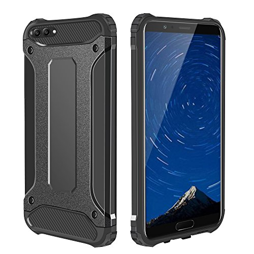 Huawei Honor V10 Case, Jiunai Drop Protection Heavy Duty Shell Hybrid Hard Back Cover + TPU Shockproof Protective Case Defender Phone Armor for Huawei Honor V10/View 10 Phone - Black