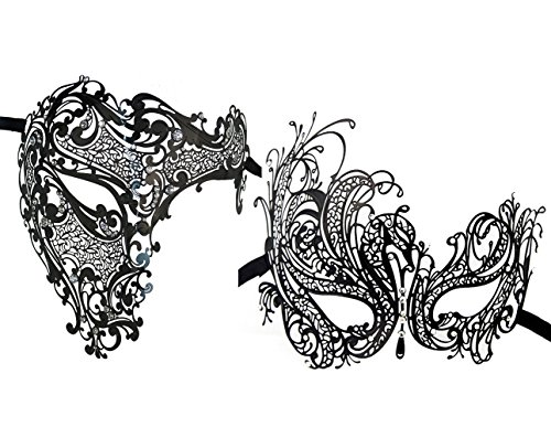 2 Pack Masquerade Metal Masks Venetian Halloween Costume Mask Mardi Gras ()