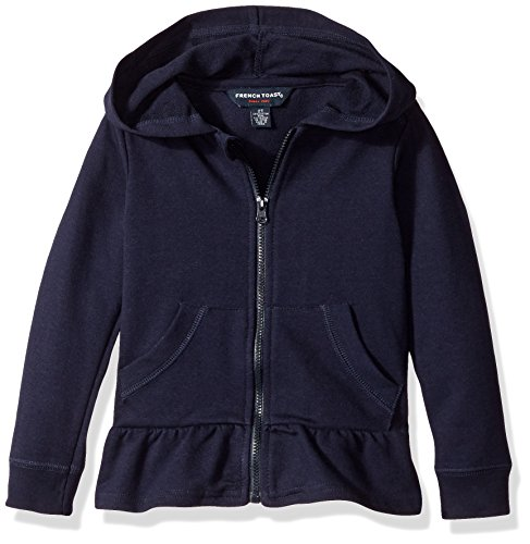 (French Toast Girls' Big Ruffle Bottom Knit Jacket, Navy L (10/12))