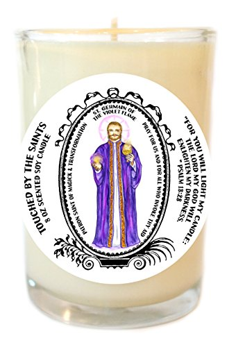 Saint Germain for Magic & Transformation 8 Oz Scented Soy Glass Prayer Candle by Touched By The Saints
