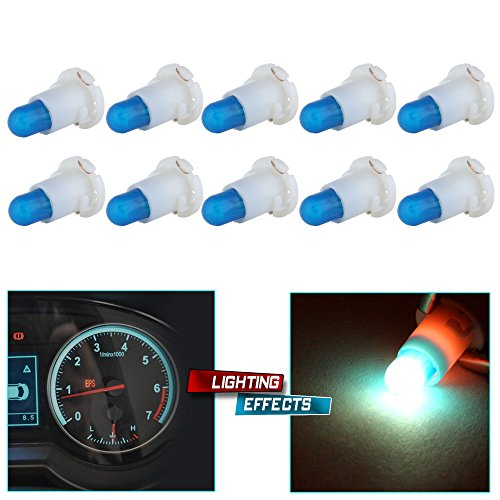 cciyu 10 Pack T5/T4.7 Neo Wedge Halogen Bulb Replacement fit for A/C Climate Control Light, Ice Blue