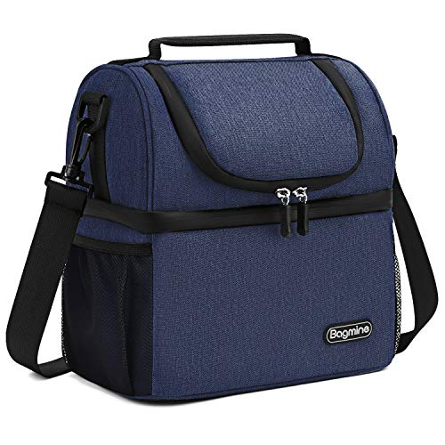 Insulated Lunch Bag for Men Women, Bagmine Adult Lunch Box for Meal Prep Waterproof Zipper & Leak-proof Inside Cooler Bag with 2 Spacious Compartment for For Commuter, School, Camping Navy blue