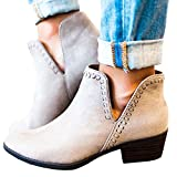 FISACE Womens Cute Western Cowboy Bootie Pointed Toe Slip On Low Heel Ankle Boot