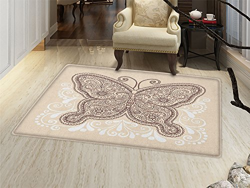 Ivory Door Mat - smallbeefly Henna Bath Mats Carpet Hand Drawn Abstract Butterfly Various Design Elements Flowers Hearts Floor Mat Pattern Ivory Chesnut Brown White