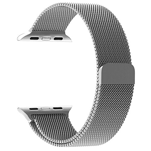 Watch Band, Milanese Loop Mesh Smooth Stainless Steel Strap Freely Fully Magnetic Closure Clasp Metal Strap Wrist Band Replacement Bracelet for  Watch Band Series 3/2/1 (38mm Silver)