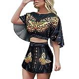 Toimothcn Women's Vintage Half Sleeve Floral T Shirt Casual O Neck Tops Blouse(Black2,M)
