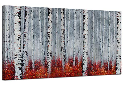 "Canvas Wall Art White Grey Birch Trees Branches Landscape Painting Red Falls Leaves Picture Poster Prints, Modern One Panel 48""x24"" Framed Large Size for Living Room Bedroom Home Office Décor"