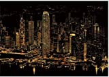 Metropolis Night Light, Scratch Night View, Scratch Paper - Hong Kong