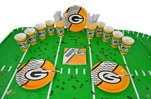 Duck House Official National Football Fan Shop Authentic NFL Tailgate Party Kit Bundle for 20 Fans - Table Setting and More (Green Bay Packers) -