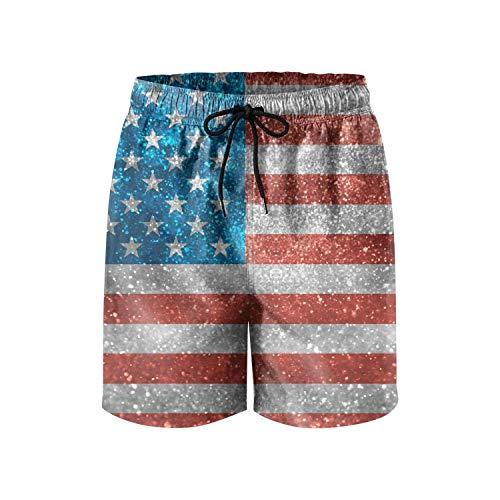 LHSCVUFASC Glitter USA Flag Man Shorts Summer Cute Quick Dry Swim Trunks
