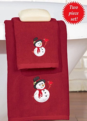 Rojo Blanco Muñeco de nieve bordado decorativo 2 Pc juego de toallas de vacaciones: Amazon.es: Hogar
