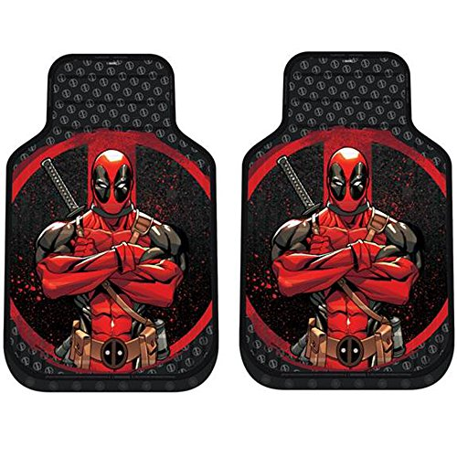 (Deadpool Marvel Comics Auto Car Truck SUV Vehicle Front Seat Plasticlear Vinyl Floor Mats - PAIR)