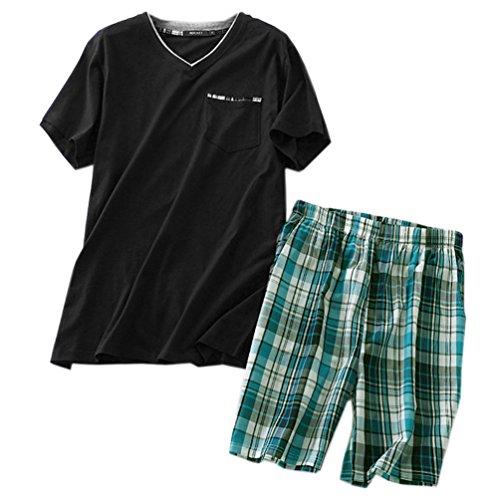 (ENJOYNIGHT Men's Summer Short Sleeve Pajamas Adult Casual Shorts & Shirt PJ Set (Medium, V Black2))