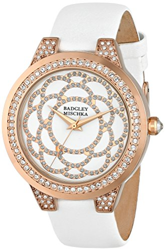 badgley-mischka-womens-ba-1330wtrg-swarovski-crystal-accented-rose-gold-tone-and-white-leather-strap