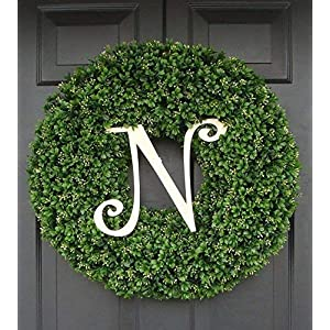 Elegant Holidays Handmade Thick Artificial Faux Boxwood Wreath with Monogram, Welcome Guests with Decorative Front Door for Outdoor Indoor Home Wall Accent Décor All Seasons and Holidays 14-26 inch 9