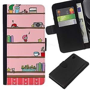 iBinBang / Flip Funda de Cuero Case Cover - Cámara Música Niños de dibujos animados Pink Dibujo - Sony Xperia Z1 L39H