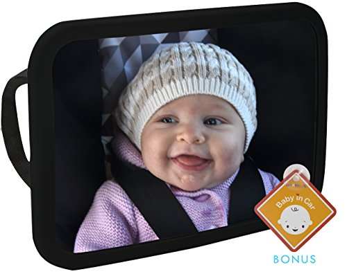 Fantastic Deal! Alphabetz Large Baby Backseat Car Mirror Crash Tested-Shatterproof with Free Baby-On...