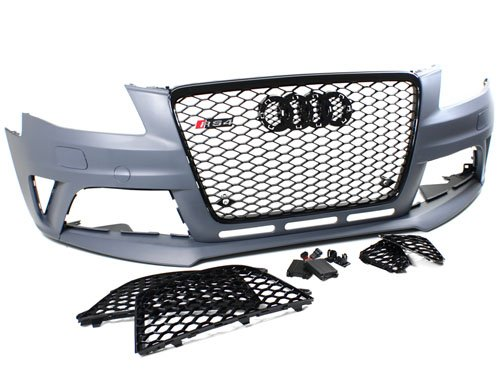 09-12 Audi A4/S4 B8 RS4 Style Front Bumper Conversion Kit w/ Gloss (09 Grille)