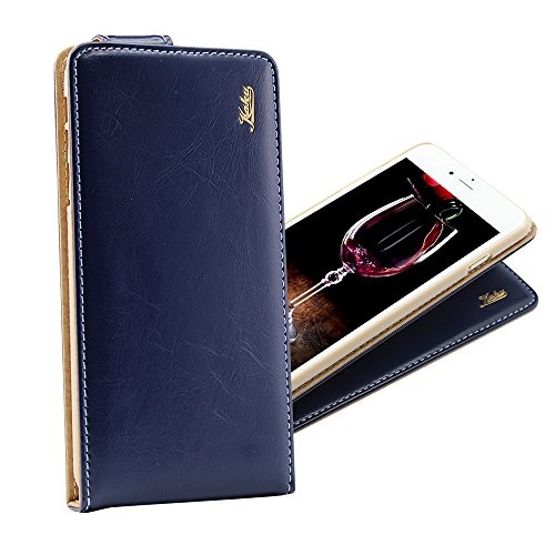 Brand New Smart Iphone 6 Ultra-Soft Genuine Navy Blue Leather Flip Case Cover with Two Card Slot for Apple Iphone 6 by G4GADGET®