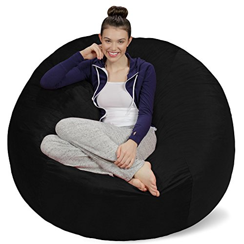 Sofa Sack - Plush Ultra Soft Bean Bags Chairs For Kids, Teens, Adults - Memory Foam Beanless Bag Chair with Microsuede Cover - Foam Filled Furniture For Dorm Room - Black 5'