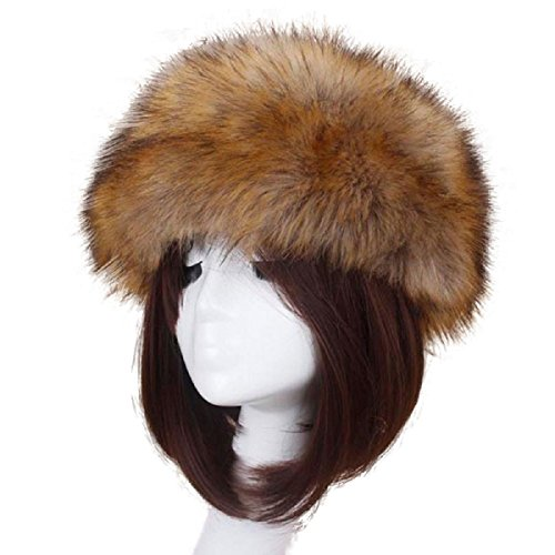 TAORE Womens Winter Hat Faux Fur Headband Cap Headgear Earwarmer Earmuff Snow Hat (C-Dark Coffee (Long plush))