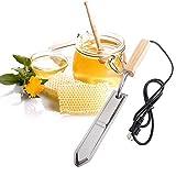 SODIAL US Plug Electric Honey Knife Bee Beekeeping Equipment Cutting Heating Knife Wood Handle Stainless Steel Scraper Tools
