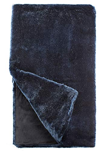 "Fabulous Furs: Faux Fur Luxury Throw Blanket, Steel Blue Mink, Available in Generous Sizes 60""x60"", 60""x72"" and 60""x86"", by Donna Salyers -  Donna Salyers' Fabulous Furs, 11016BLUMINK"