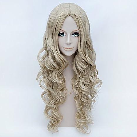 Falamka Cenicienta cosplay peluca flaxen Hair Princess estilo largo pelucas de pelo rizado: Amazon.es: Belleza
