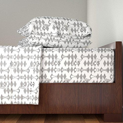 Cotton Bishops Sateen - Roostery Toile 3pc Sheet Set Murder On The Chess-Board by Sef Twin Sheet Set Made