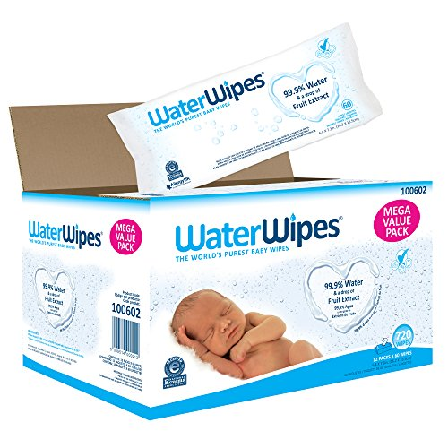 WaterWipes Sensitive Baby Wipes, 720 Count (12 Packs of 60 Count) from WaterWipes