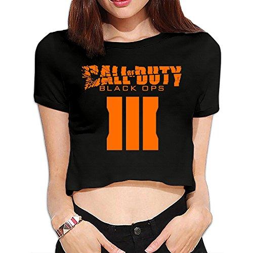 SAXON13 Women's Funny Call Of Duty Black Man III Bare Midriff Short Sleeve Black Size S