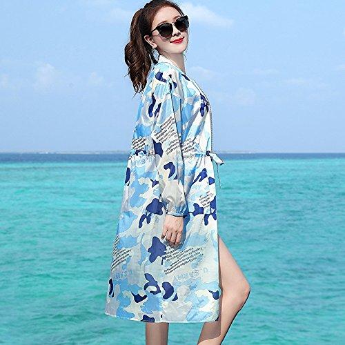 Donna Spiaggia Colore Cardigan Allentato Protezione Camo Solare Scialle B Dimens Pratico Leggero Da uv Traspirante A Xrxy Sezione Confortevole Anti Lunga EqIfE