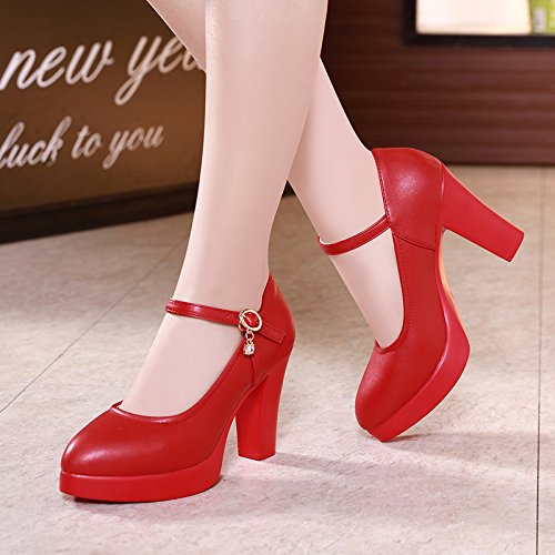 scarpe tacco 8cm Tirante scarpe alto tacchi yalanshop singolo rosso donna alti impermeabile ragazza spesso modello elevata 43 con con asolato dRzHwHqY