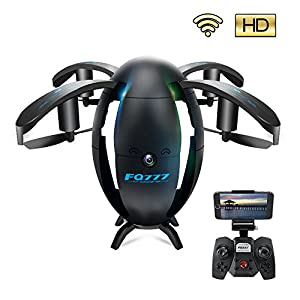 Drone with Camera and Live Video, UAV, 6-Axis Gyro 4 Channels Hobby RC Quadcopter Mini Drone with Headless Mode for Beginner, Easy to Control, Flying Egg, Black by ScharkSpark