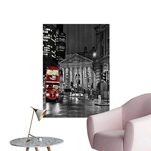 - Wall Decoration Wall Stickers Red Bus St Pauls Cathedral Tower Traffic Sign in England Britain Night Print Artwork,32