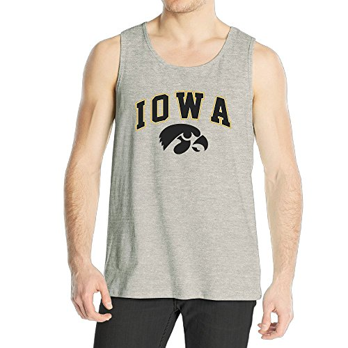 Flag Front Ash Grey T-shirt (Men's Iowa Hawkeyes Charcoal Arch Over Logo Tank Top Ash)