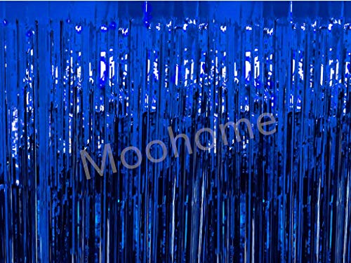 Moohome Big 12ft x 8ft Tinsel Blue Foil Fringe Curtains Backdrop Door Window Curtain Party Photography Decoration (12