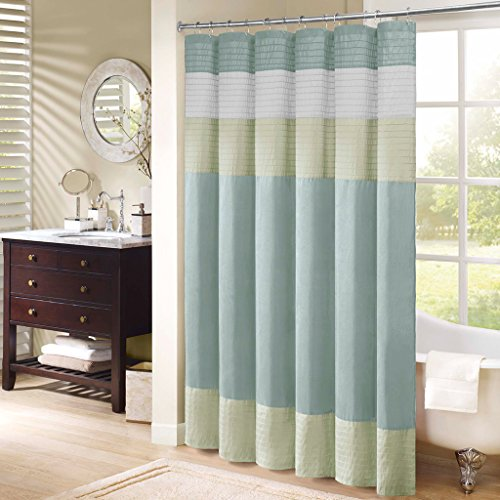 Madison Park Amherst Polyester Faux Silk Shower Curtain (Curtains Silk Striped)