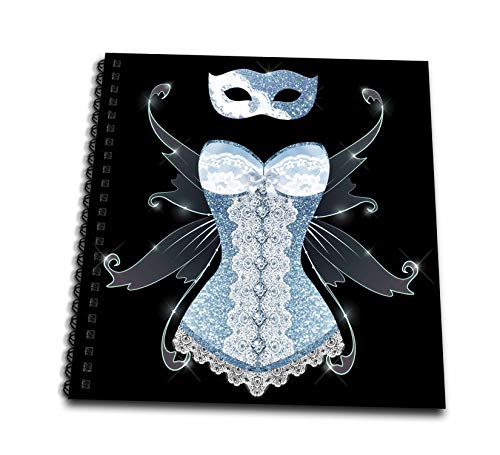 3dRose Anne Marie Baugh - Design - Blue Image Of Glitter Corset With Fairy Wings and Masquerade Mask - Memory Book 12 x 12 inch (db_316276_2)