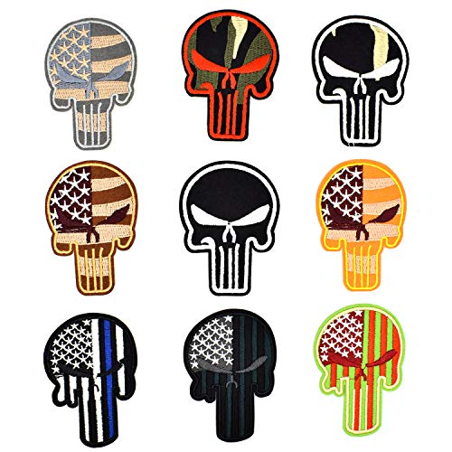 Riao-Tech 9pcs Punisher Tactical Military Patch Set US Flag Sew On/Iron On Patch Applique ()