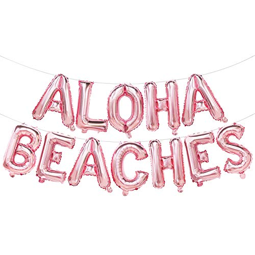 16 Inches Aloha Beaches Balloon Banner | Rose Gold Letter Balloons Banner for Tropical Hawaii Theme Baby Shower Birthday Bachelorette Bridal Shower Wedding Party Decorations Supplies]()