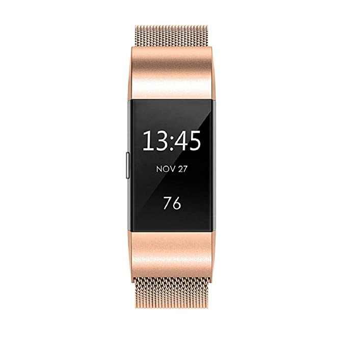 Correas de Reloj, ☀️Modaworld Reemplazo de Pulsera de Correa de Reloj de Acero Inoxidable milanés Muñequera Banda de Repuesto para Fitbit Charge 2 (Oro ...