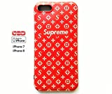 High Fashion Monogram x Supreme - iphone 7plus/8plus Soft Protective Durable Case / Bumper / Cover handcrafted by silicone materials Anti-scratch Shock proof Drop protection Genderless. (red)