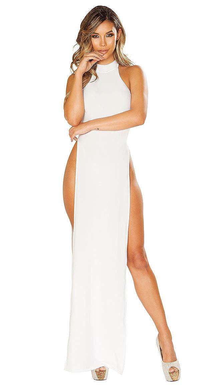 f1496df6b Amazon.com  Roma Costume Maxi Length Halter Neck Dress with High Slits   Clothing