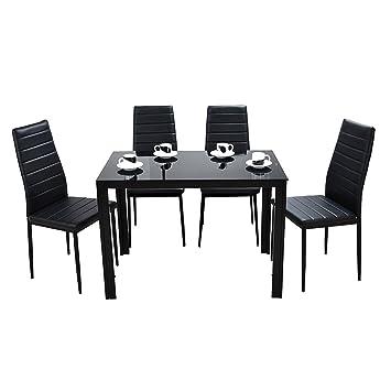 Anaelle Panana Ensemble Table en Verre Trempé avec 4 Chaises en Faux Cuir  pour Salle à Manger, Salon, Bureau, Restaurant et Bar, Noir